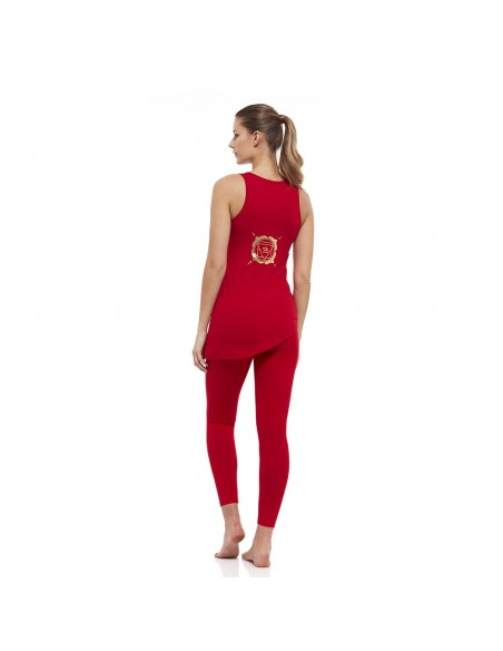 Muladhara Outfit: muladhara yoga top + high waist muladhara yoga leggings (red)