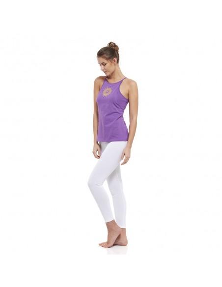 Completo: canotta yoga shasrara + legging vita alta (bianco)